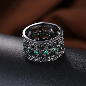 18K Black Plated Double Heart Row Centric Green