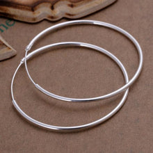 "Load image into Gallery viewer, 2"" Round Hoop Earring in 18K White Gold Plated"