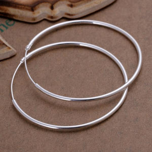 "2"" Round Hoop Earring in 18K White Gold Plated"