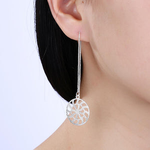 Sunshine Circle Threader Drop Earring in 18K White Gold Plated