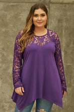 Load image into Gallery viewer, Purple Lace Asymmetrical Hemline Top