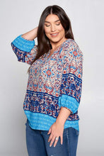 Load image into Gallery viewer, Plus Size Navy Paisley Print 3/4 Sleeve Blouse