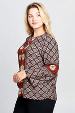 Load image into Gallery viewer, Plus Size Boho Bell Sleeve Print Top