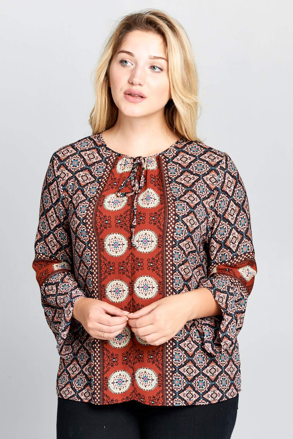 Plus Size Boho Bell Sleeve Print Top