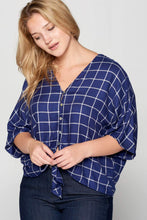 Load image into Gallery viewer, PRINT FRONT TIE BUTTON UP TOP - PLUS SIZE