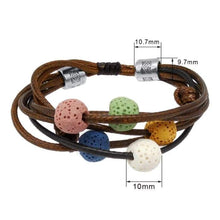 Load image into Gallery viewer, Brown Lava Stone Charm Bracelet Adjustable