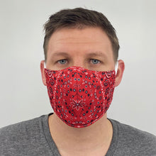 Load image into Gallery viewer, Red Bandana Face Cover