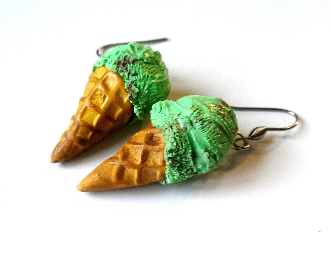 Mint Chocolate Chip Ice Cream Earrings