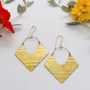 Aztec II Brass Earrings