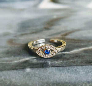 Sterling Silver Evil Eye Toe Ring