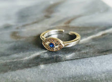 Load image into Gallery viewer, Sterling Silver Evil Eye Toe Ring