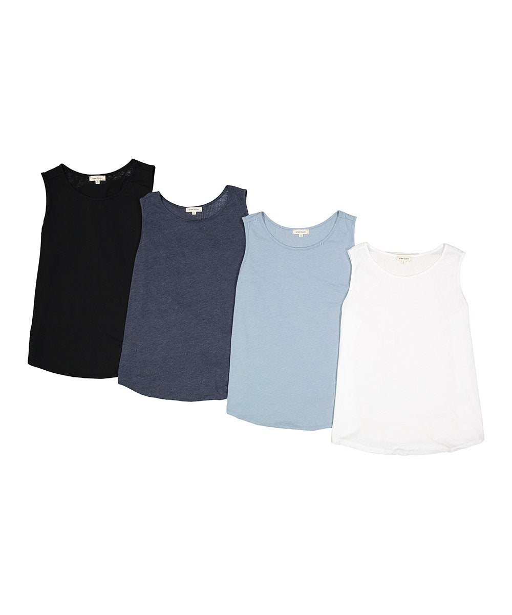 Plus Size 4 Pack Scoop Neck Tri-Blend Sleeveless Tanks