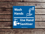 Lille vægskilt - Wash hands use hand sanitizer - 10stk