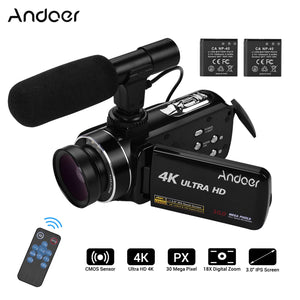 Andoer 4K Ultra HD Handheld DV Professional Digital Video Camera CMOS Sensor Camcorder 3.0 Inch IPS Monitor Burst Shooting