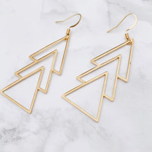 Load image into Gallery viewer, Triple Triangle Earrings