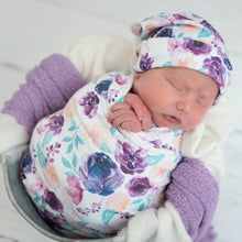 Load image into Gallery viewer, PURPLE FLORAL SWADDLE SET