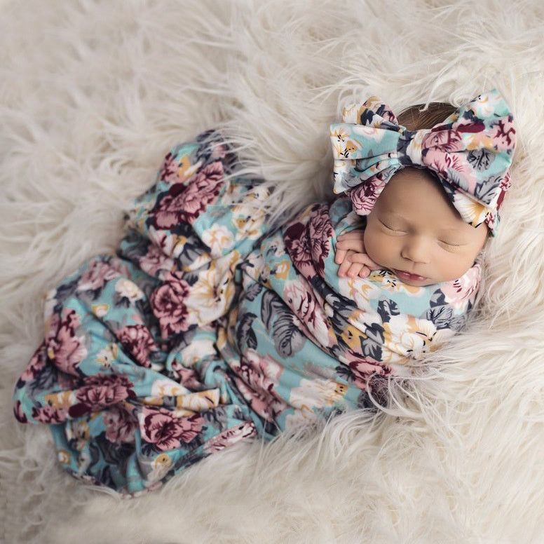 FLORAL BABY SWADDLE SET