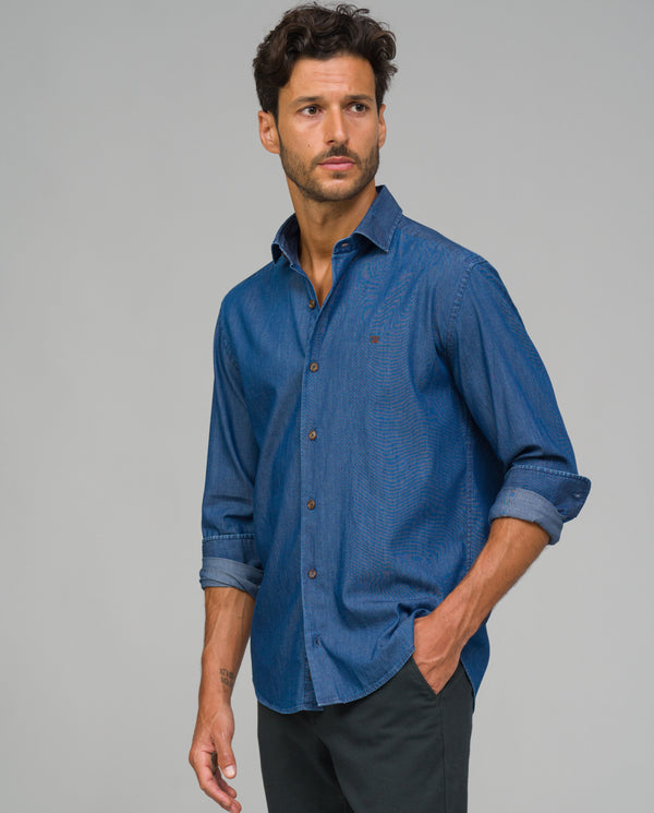 CAMISA SPORT SLIM FIT TIPO DENIM - Etiem