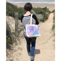 """Air Melody"" hand-painted tote bag Handpainted tote bags Sandra Vincent Art"