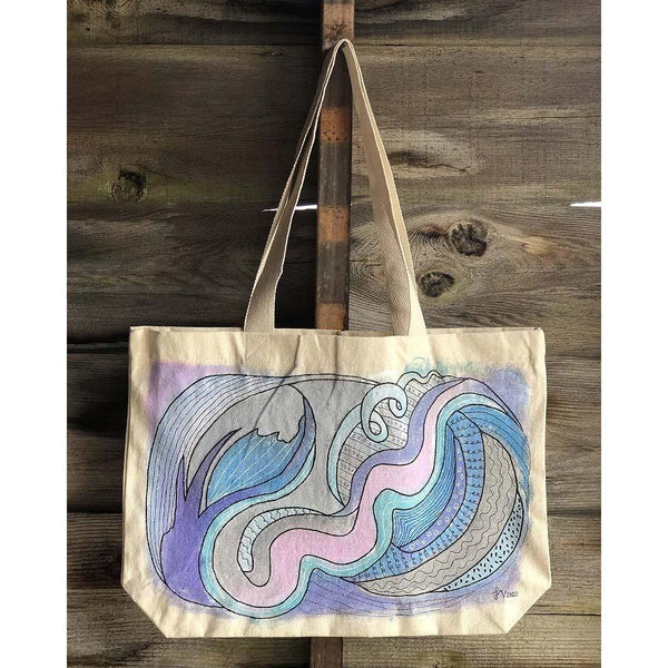 """Airflow"" hand-painted tote bag Handpainted tote bags Sandra Vincent Art"