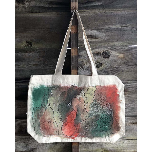 """Radiant earth"" hand-painted tote bag Handpainted tote bags Sandra Vincent Art"