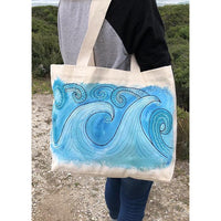 """Ride the wave"" hand-painted tote bag Handpainted tote bags Sandra Vincent Art"