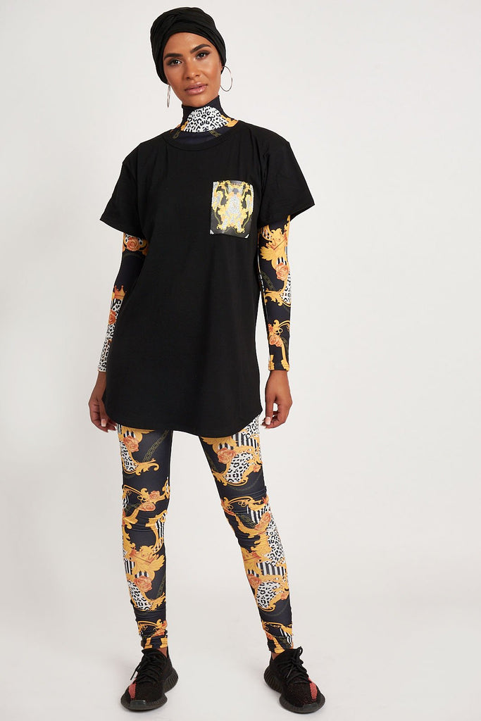 Empower Neish Print Design Oversized T-Shirt - Black
