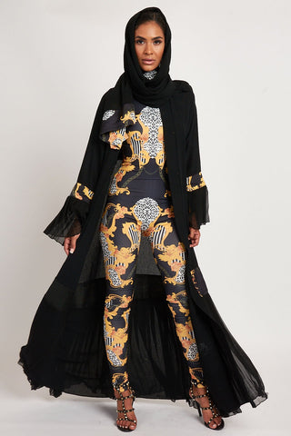 Empower Neish Print Design Abaya - Black