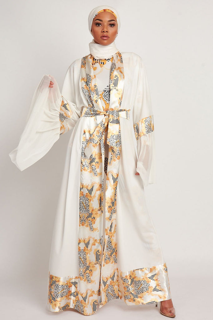 Empower Neish Print Design Abaya - White