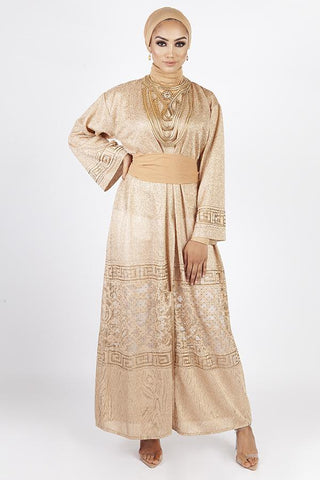 Diamanté Abaya – Gold
