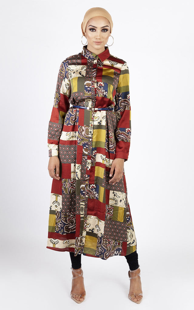 Multi-Coloured Patterned Dress - Brown