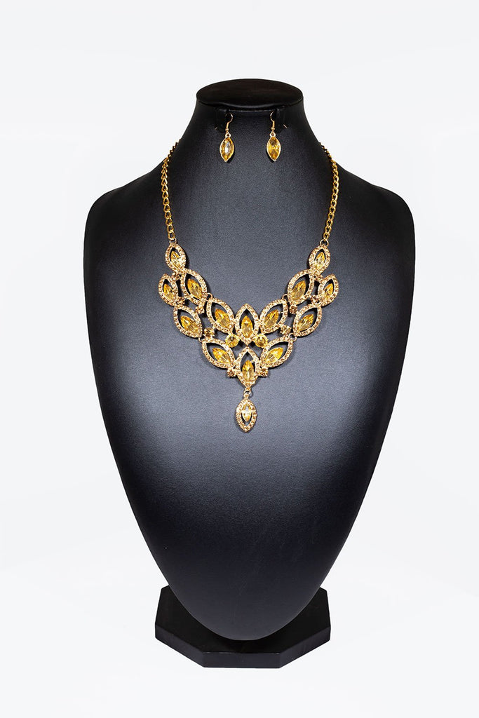 Diamanté Cluster Necklace With Matching Teardrop Earrings - Gold
