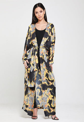 Empower Neish Print Design Kimono With Belt - Black
