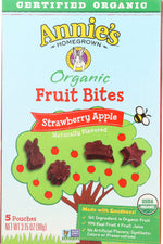ANNIES HOMEGROWN: Organic Fruit Bites Strawberry Apple, 3.15 oz