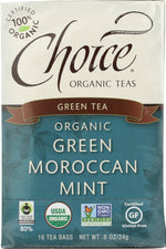 CHOICE TEA: Organic Green Moroccan Mint Tea, 16 bg