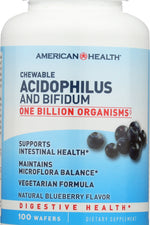 AMERICAN HEALTH: Chewable Acidophilus and Bifidum Natural Blueberry Flavor, 100 Wafers
