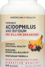 AMERICAN HEALTH: Probiotics Acidophilus and Bifidum Chewable Fruit, 100 Wafers