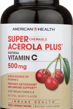 AMERICAN HEALTH: Super Acerola Plus Natural Vitamin C Chewable Berry 500 mg, 100 Count