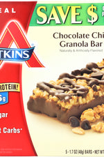 ATKINS: Meal Bar Chocolate Chip Granola (5x1.7oz bars), 8.5 oz