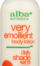 ALBA BOTANICA: Very Emollient Body Lotion Daily Shade SPF 15, 32 oz