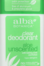 ALBA BOTANICA: Clear Enzyme Deodorant Stick Aloe Unscented, 2 oz