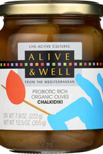 ALIVE & WELL: Chalkidiki Probiotic Rich Organic Olives, 12.5 oz
