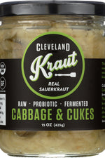 CLEVELAND KRAUT: Cabbage and Cukes Sauerkraut, 16 oz