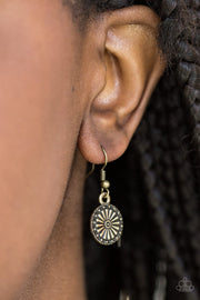 Sunflower Summers Brass Earrings - Paparazzi - JewelTonez Jewelry