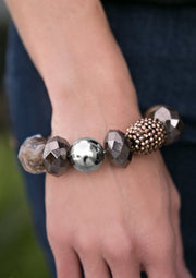 All Cozied Up Brown Paparazzi Rhinestone Bracelets Ejiji Boutique