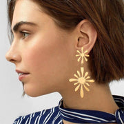 Gold Double Flower Earrings