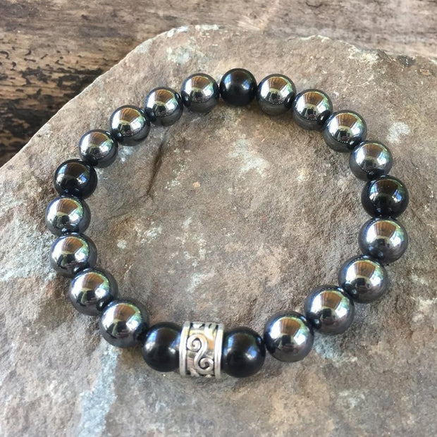 Hematite and Black Obsidian Semi Precious Bead Bracelet