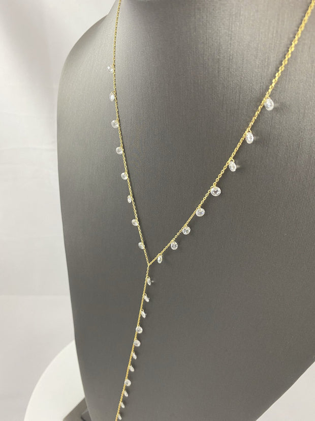 Gold Crystal Lariat Necklace EJIJI Boutique