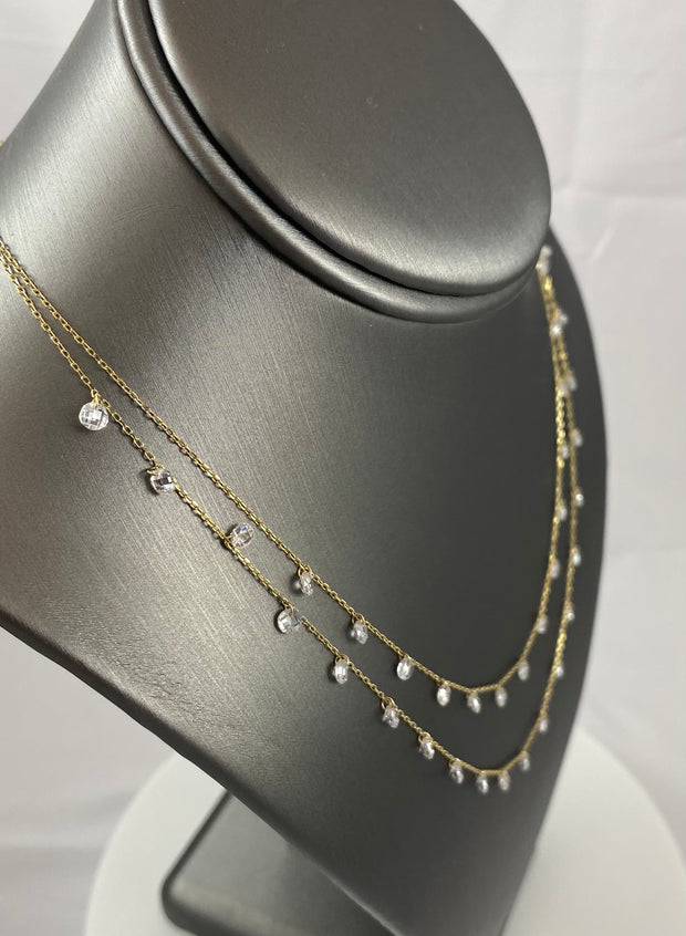 Gold Double Strand Crystal Necklace