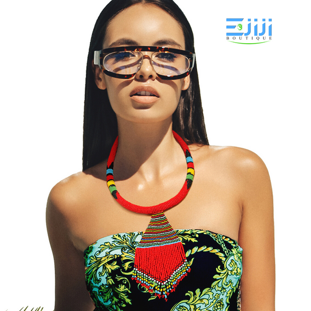 Handmade Red Seed Bead Zulu Maasai Style Rope Necklace Set Ejiji Boutique